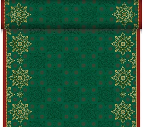 Duni - 184909 - C Kerst Tete a Tete/Tafelkleed - Donker Groen - DUNICEL 0,4X24m - 4 stuks (4 verpakkingen van 1)