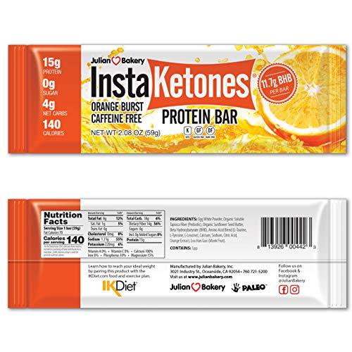 Julian Bakery InstaKetones Protein Bar | Orange Burst | Caffeine-Free | 11.7g GoBHB Per Protein Bar | Exogenous Ketones | 4 Net Carbs | 12 Bars