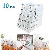 Vinteky 10x Cajas de Zapatos Plegables de Plástico, Cajas para Zapatos Transparente Plástico, Caja para Guardar Zapatos, Calcetines, Juguetes, Cinturones para la Organización de su Hogar, Oficina