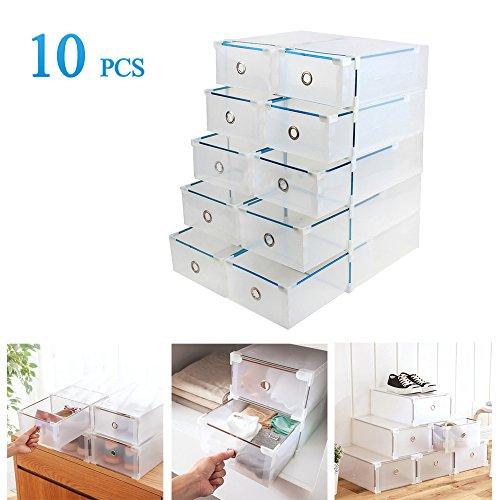 Vinteky® 10x Cajas Almacenaje plegable de plástico Cajón Organizador Transparente envase de...