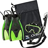 IST Orbit Snorkeling Gear Set: Tempered Glass Mask, Dry Top Snorkel & Trek Fins for Compact Travel (Black Silicone/Green, Large)