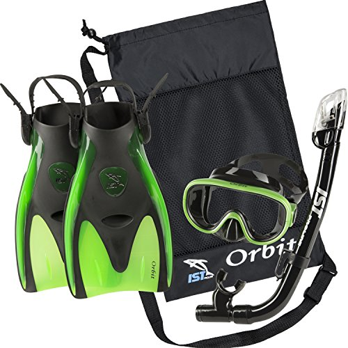 IST Orbit Snorkeling Gear Set: Tempered Glass Mask, Dry Top Snorkel & Trek Fins for Compact Travel (Black Silicone/Green, Medium)