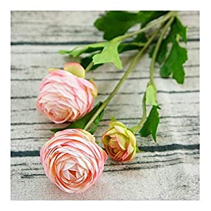 Remains 3 Heads Artificial Ranunculus Asiaticus Rose Fake Flowers Silk Flores Artificiales for Autumn Wedding Decoration Kunstbloemen Never