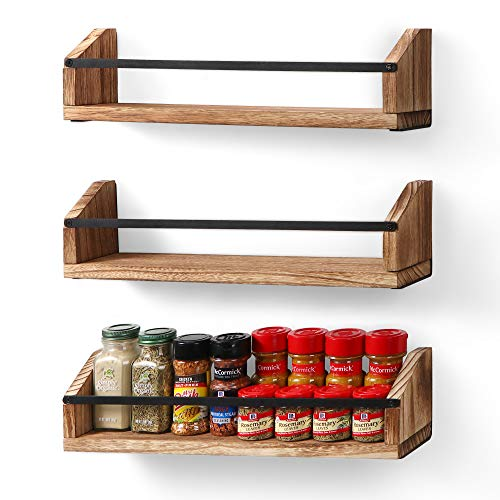 Wooden Spice Rack Organizer for Kitchen Cabinet or Wall Mount - Space Saving Set of 3 Hanging Spice Racks Floating Shelves
