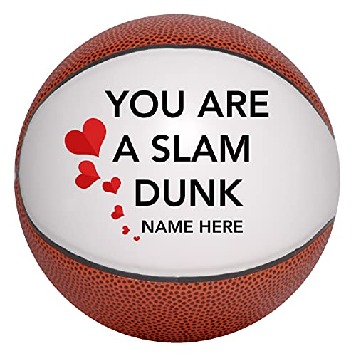 Custom Basketball for Boyfriend, Girlfriend, Husband, Wife, Mother You are A Slam Dunk Valentines Day Gift with Hearts Personalized with Name