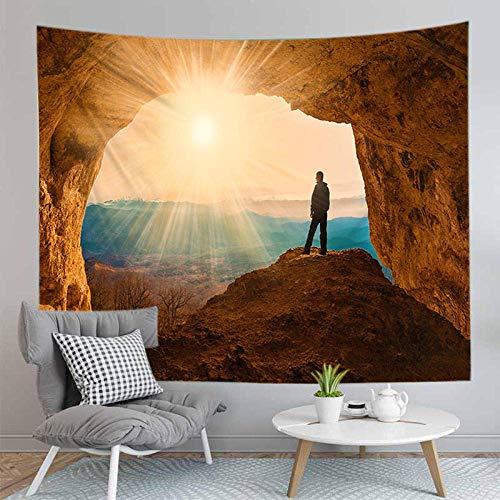 AOOEDM Cueva Hermoso Paisaje Cascada Imágenes Impresas Alfombra para Colgar en la Pared Tela de poliéster Decoración del hogar Alfombra para Colgar en la Pared Tapiz Grande