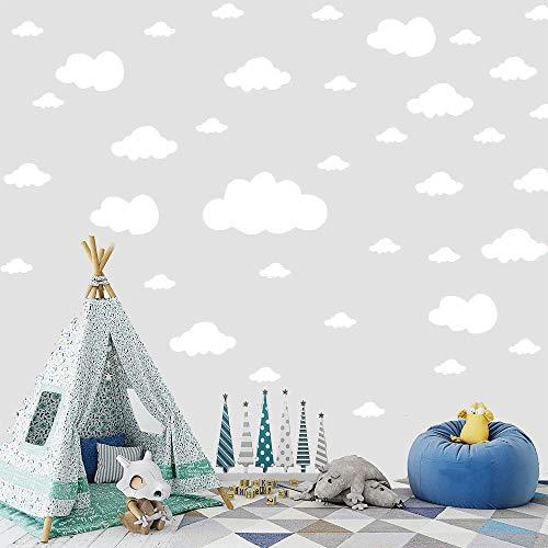 KingYH 69 Piezas Nubes Pegatinas Vinilicas Pared Infantil Decorativas Adhesiva Pared para la Habitación Dormitorio de Niña Niño Infantil Decoración de Arte para Hogar