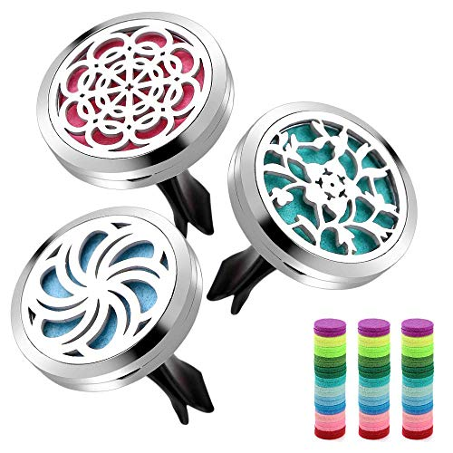 3 PCS Car Diffuser Vent Clip- ttstar Aromatherapy Essential Oil Car Diffuser Clip 30mm with 36 Refill Pads.