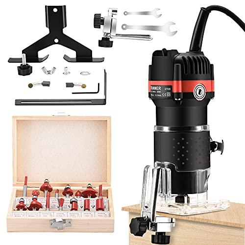 GJCrafts Fresadora de Madera Rebajadora pequeña Eléctrica para Carpintería 15 juegos de cortadores, Fresadora de superficie 30000r/min para Recorte de carpintería.