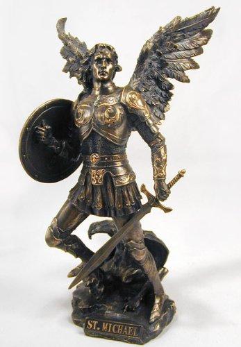 Archangel Saint Michael Statue Real Bronze Powder Cast Sculpture 12 ½-inch