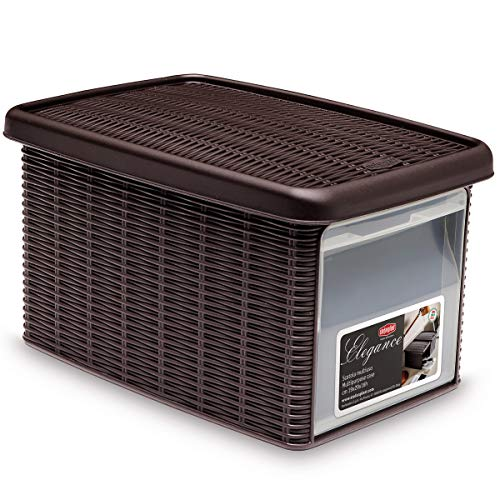 #11 Aufbewahrungsbox mit transparenter Öffnung 5 Liter Mokka modernes Rattanoptik Design - Organiser Kunststoff Schuhbox Stapelbox Rattan Box Stapelbar