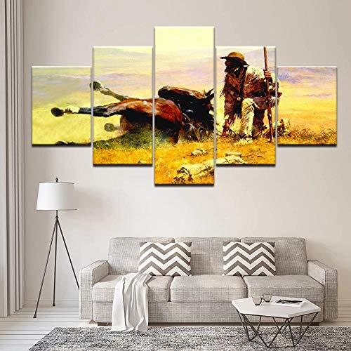 QZWXEC 5 Pezzi Un Indiano e Cavallo Wall Art Picture Tela Stampante Dipinti Poster di Animali per la Decorazione del Soggiorno opere d'Arte