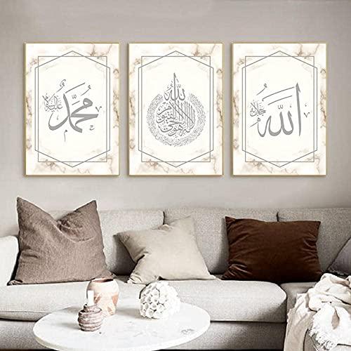 XIANGY Cuadro sobre lienzo con pintura de mármol dorado y caligrafía islámica,...