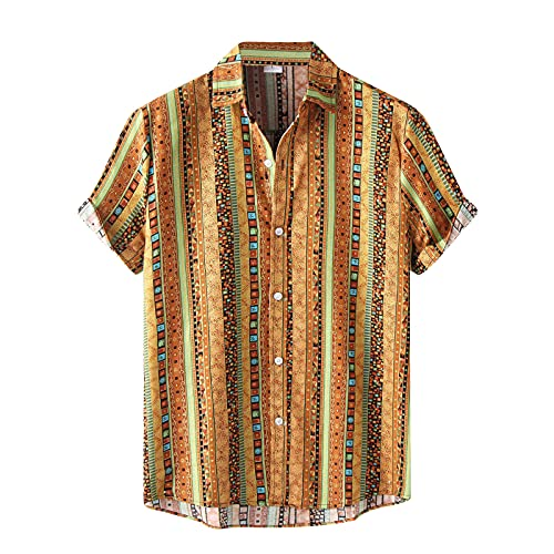 KANGYONG Camisa hawaiana informal para hombre, con estampado floral, manga corta, cuello vuelto, botones ajustados, cuello en V B_amarillo. XXL