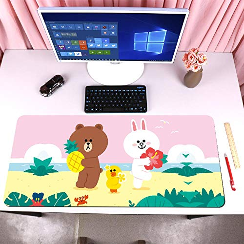 Niedliche Anime Bär Mauspad übergroße 80 x 30 Nähte Anime Cartoon niedliche Mädchen Schreibblock Schreibtisch Matte