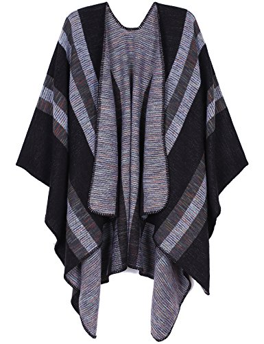 ADOMI Women's Winter Elegant Reversible Oversized Blanket Poncho Cape Shawl Cardigans