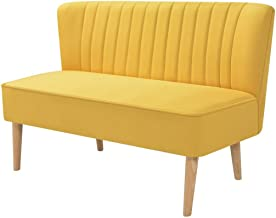 vidaXL 2 Seater Sofa Couch Bench Lounge Fabric Yellow Home Office Furniture