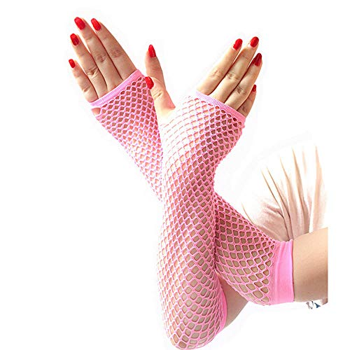 Damen und Mädchen Neon sexy Lange Fingerlose Mesh-Spitze hohe elastische Handschuhe handschoen zonder vingers Frauen Winterhandschuhe-pink_China_One Größe