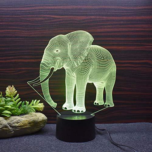 HGFHGD 3D Elefante luz de la Noche Colorido cambiante LED lámpara de...