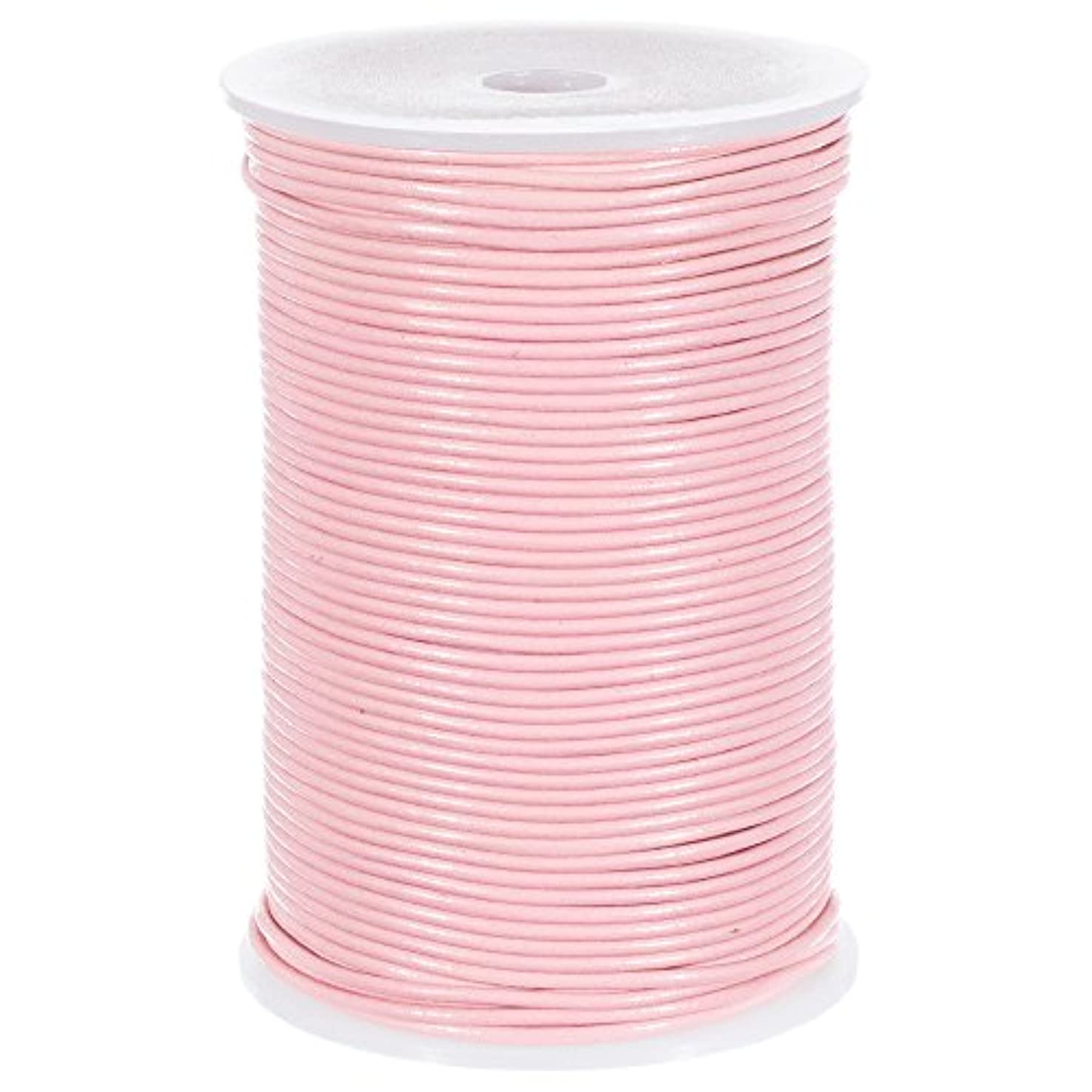 25 Yards of Solid Round 2mm Pink Real and Genuine Leather Cord for use as Braiding String (2mm, Pink)