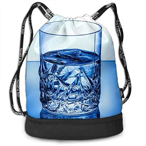 Candles And Stone - Mochila con cordón, diseño de velas y piedras, Vaso de cristal azul para agua helada., Talla única