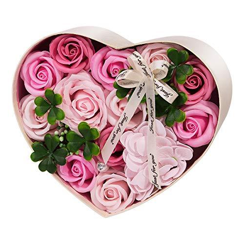 ANBET Confezione Regalo Fiori Finti Sapone Artificiale Conservato per Sempre Regalo Floreale per Donna per la Festa della Mamma, Festa degli Insegnanti, Matrimonio (Rosa)