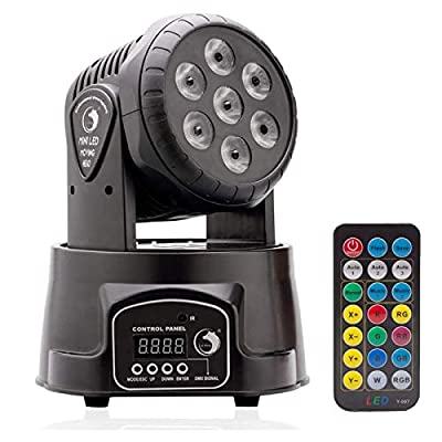 U`King Stage Light Lamp with 7LED Moving Head RGBW with 5Control Mode for Disco, KTV, Bar, Party Type 1 Schwraz 7Led-1