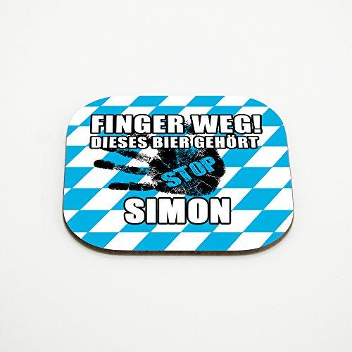 Untersetzer für Gläser mit Namen Simon und schönem Motiv - Finger weg! Dieses Bier gehört Simon