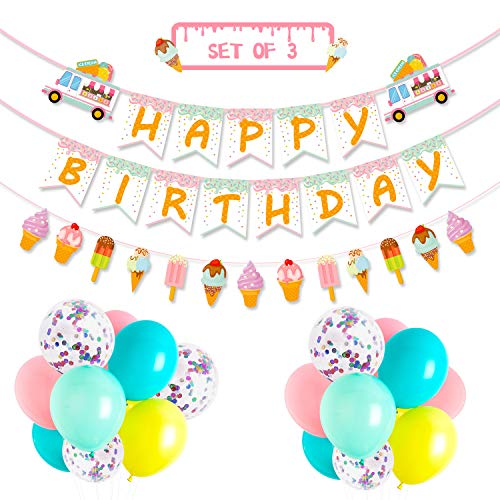 Ice Cream Party Favor Decorations Ice Cream Happy Birthday Banner Popsicle Garland Pastel Color Confetti Balloons for School Summer Kids Party Baby Shower Nursery Decoration Supplies, Set of 36