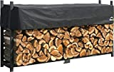 ShelterLogic 8' Ultra-Duty Firewood Rack-in-a-Box Wood Storage with Premium Steel Frame and Adjustable Water-Resistant Cover