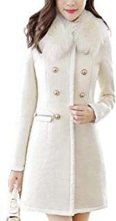 Womens Faux Fur Collar Thick Mid Length Trench Jacket Pea Coat Overcoat