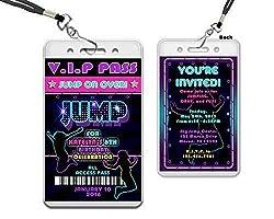 Girl Neon Jump Birthday Party Invitations Trampoline Park