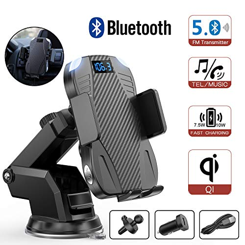 ENSFOUY Car Wireless Phone Charger Bluetooth FM Transmitter, 10W Qi Fast Charging Mount Auto-Clamping Stand for iPhone 11/11 Pro/11 Pro Max/Xs MAX/XS/XR/X/8/8+, Samsung Galaxy S10/S10+/S9/S9+/S8/S8+