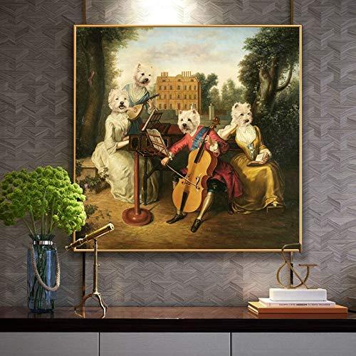 Hond Dier Spelen De Piano Olieverf Poster Muur Foto Voor Woonkamer Doek Home Decor50x40cm no frame
