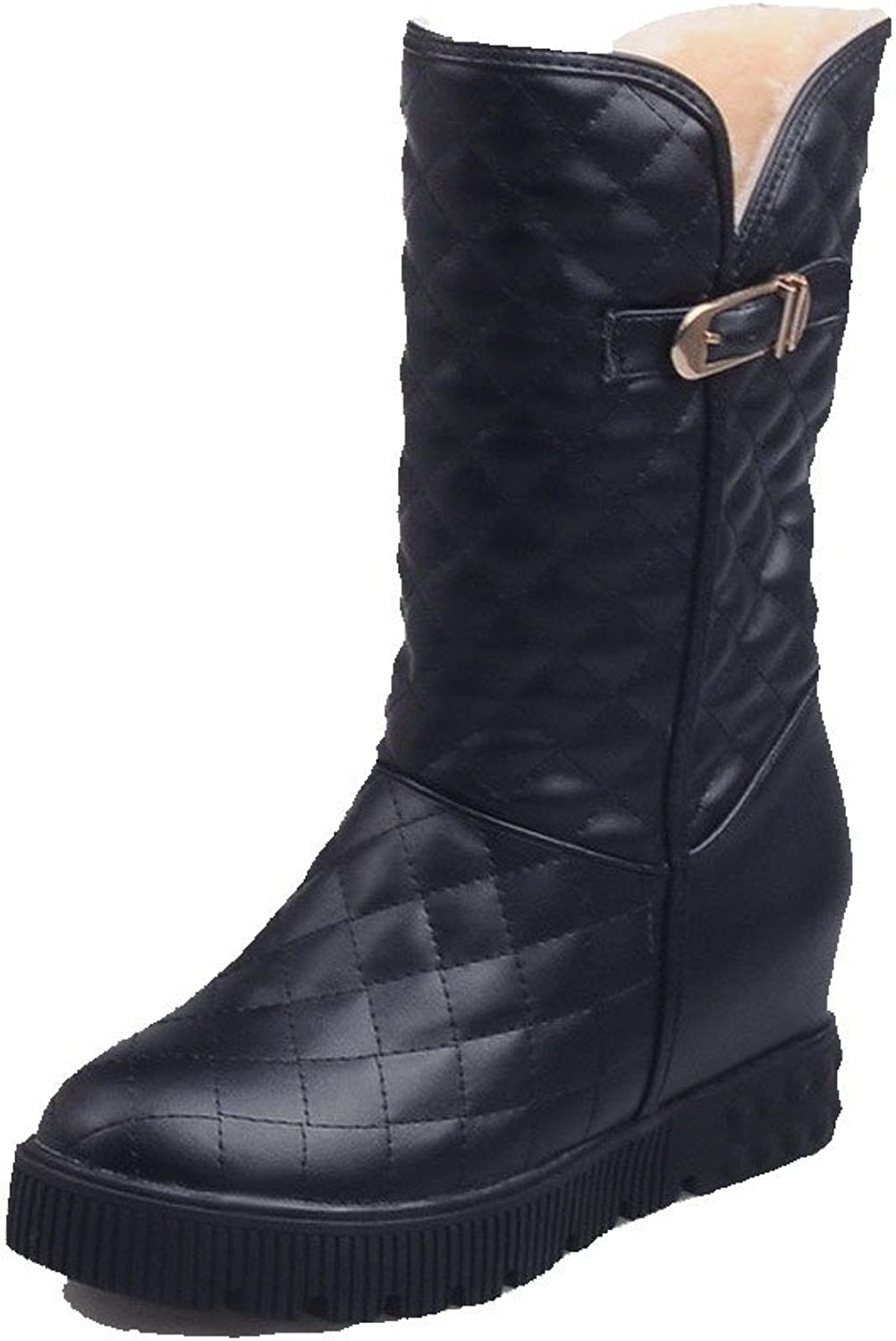 AllhqFashion Women's Mid Top Solid Pull On Round Closed Toe Kitten Heels Boots