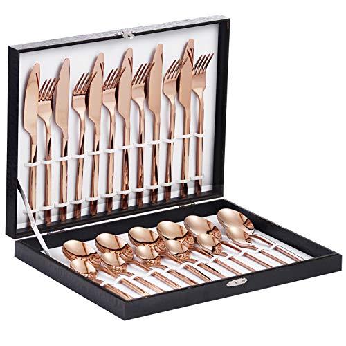 Velaze Juego de Cubiertos, 24 Piezas de Cubertería de Acero Inoxidable 18/10 Incluyen 6 Cuchillos de Mesa, 6 Tenedores, 6 Cucharas y 6 Tenedores de Postre, Vajilla con Caja de Regalo, Oro de Rosa