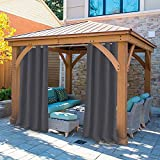 UniEco - Outdoor Curtains for Gazebo with Eyelets, Mildew Resistan Pergola Curtains, Perfect for Garden Patio Balloon of Pavilion Beach House, 1 Piece, 132x215cm, Carbon Grey