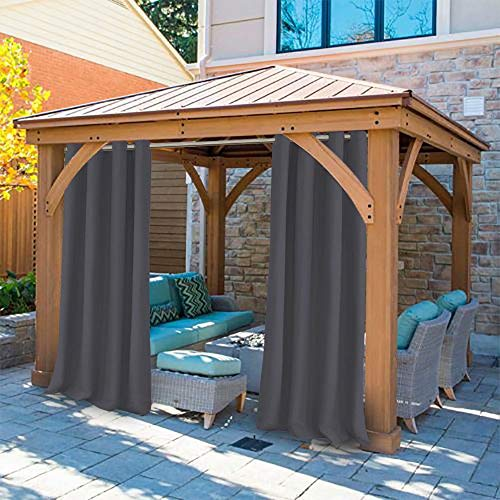 UniEco - Outdoor Curtains for Gazebo with Eyelets, Mildew Resistan Pergola Curtains, Perfect for Garden Patio Balloon of Pavilion Beach House, 1 Piece, 50' W*84' H, Carbon Grey