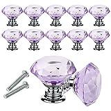 YCDC Pomos de cristal para cajón de cajón con forma de diamante de 30 mm para aparador y cocina, armario y armario (10 unidades), color morado