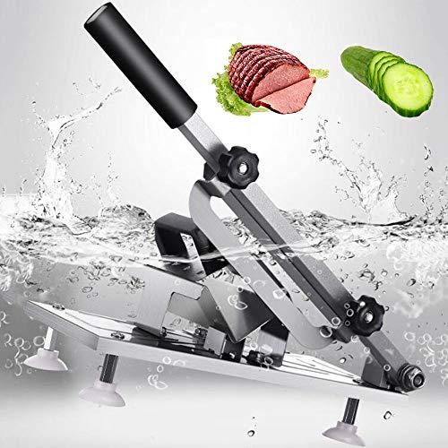 GRX-QRJ Cortafiambres de Acero Inoxidable El,Cortafiambres de Manual, Grosor de la Rebanada Puede ser Ajustable para Cortar Embutidos Cortador de Carne de Cordero para Cocina