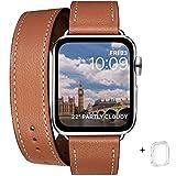 WFEAGL コンパチブル Apple Watch バンド, は本革を使い, iwatch series 6/5/4/3/2/1,SE レザー製,Sport/Edition 向けのバンド交換ストラップです コンパチブル アップルウォッチ バンド(38mm 40mm, 二重巻き型 ブラウン +シルバー アダプター)