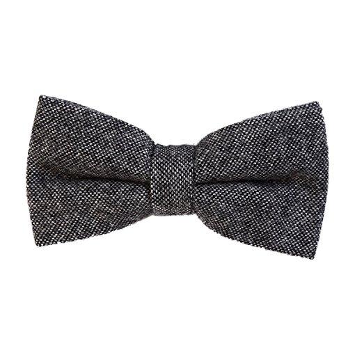 DonDon Herren Fliege 12 x 6 cm Baumwolle gebunden und längenverstellbar dunkelgrau schwarz