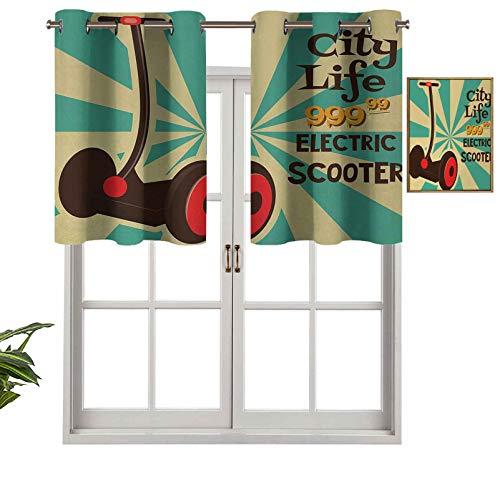 Hiiiman Paneles de cortina corta con ojales para ventana, diseño de scooter eléctrico en primer plano de estilo pop Art a rayas, transporte urbano, juego de 1, 91,4 x 45,7 cm para baño y cocina