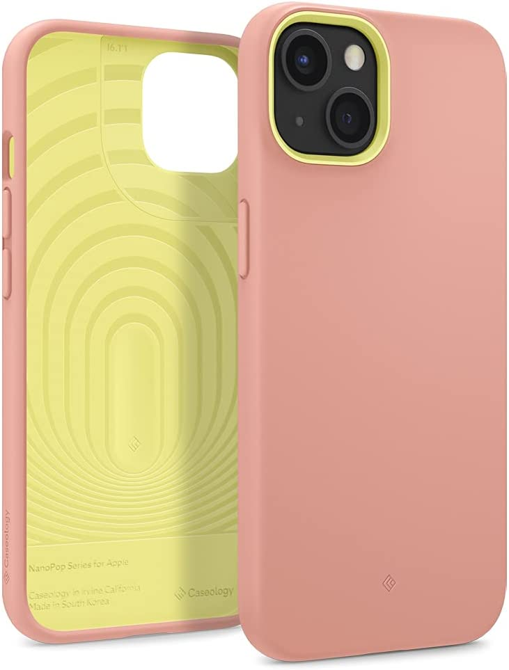 Caseology Nano Pop Silicone Case Compatible with iPhone 13 Case for Women & Men (2021) - Peach Pink