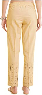 NAARI Women 100% Cotton Cut-Work Embroidered Ankle Length Pants - Straight Fit - Beige Color - 2 Pockets