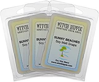 Witch Hippie Sunny Beach Scented Wickless Candle Tarts 3 Pack, 18 Natural Soy Wax Cubes, A Tranquil Blend Of Orange Blossom, Lavender, Jasmine, Rose & A Base Note Of Musk