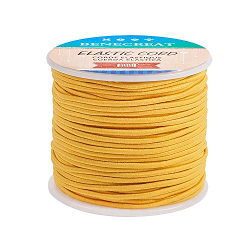 BENECREAT 2mm 55 Yards Elastic Cord Beading Stretch Thread Fabric Crafting Cord for Jewelry Craft Making (Gold)