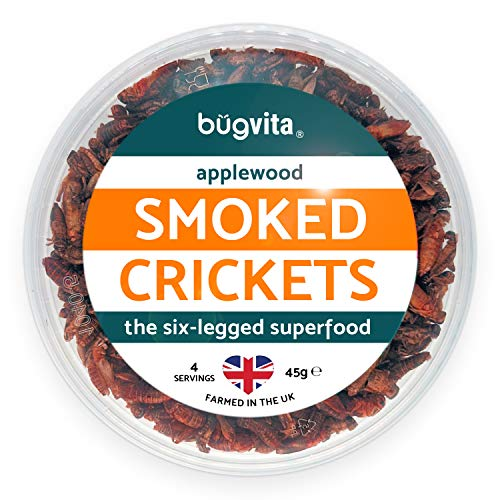 Applewood Smoked Crickets 45g   Farmed in The UK   Six-Legged Superfood   Edible Insects, Cooking and Snacks