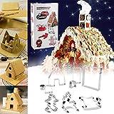 KeepingcooX 3D Weihnachten Lebkuchenhaus Ausstecher Set (13.7x10x9.8 cm) | Schlitten, Elch/Elk, Gingerbread Man/kleiner Junge | Feiertagsausschnitte Cutters Kit | Edelstahl, bunte Geschenkbox