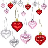 Valentine's Day Heart Shaped Decorations,36 Pcs Glitter Heart Shaped Hanging Ornaments for Home Indoor Outdoor Bridal Shower Engagement Anniversary Wedding Party Decoration